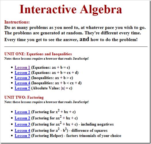 Esercizi di algebra, tanti e interattivi!