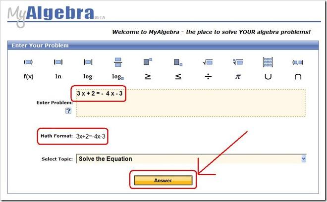 MyAlgebra ti risolve le equazioni algebriche online, in un clic