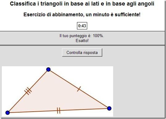 Classifica i triangoli in base ai lati e in base agli angoli