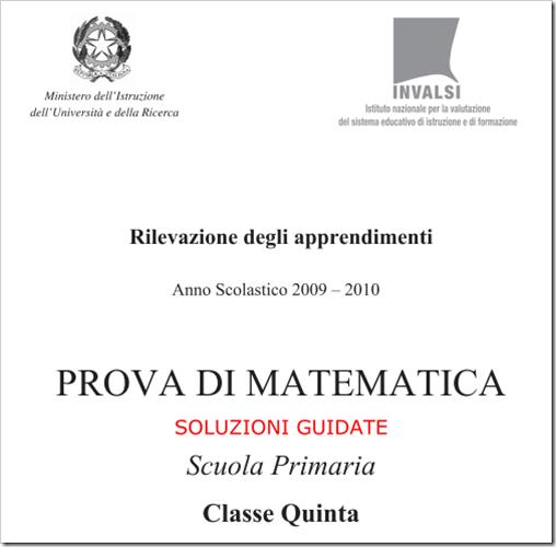 Prove Invalsi di matematica, quinta elementare a.s. 2009-2010