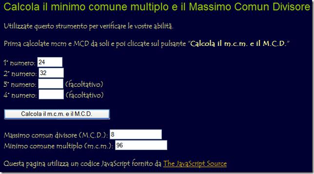 Calcola il mcm e il MCD