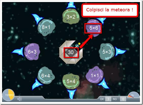 Colpisci la meteora e memorizza le tabelline