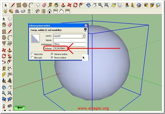 Area e volume della sfera con SketchUp