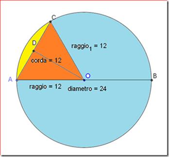 Problema di geometria su segmenti e settori circolari