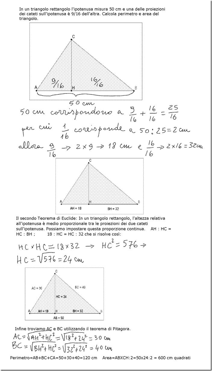 Mi aiutate a risolvere questo problema sul teorema di Euclide?