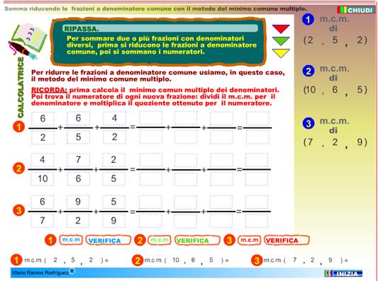 Impara a sommare tre frazioni con denominatore diverso