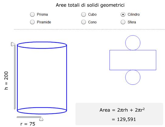 Aree totali di alcuni solidi geometrici